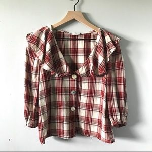 Zara TRF Collection Maroon Plaid Cropped Blouse M